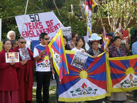 Tibetans Protest at the Chinese Consulate on 28th March in Melbourne Australia