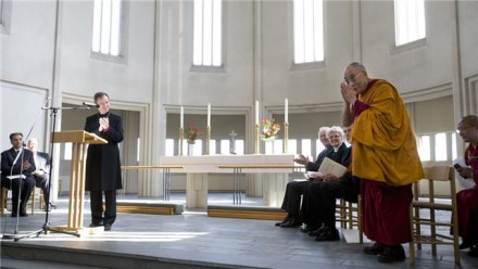 His Holiness being welcomed by the Bishop of Iceland at the special inter-faith gathering. Photo by Ragnar Axelsson