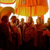 His Holiness the Dalai Lama performs the blessing ceremony at the monastery's entrance, photo: Wasfia Nazreen, July 9, 2009