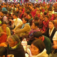 Devotees from various regions in and around Spiti valley in Himachal Pradesh listen to His Holiness the Dalai Lama during a sermon at Kaza on 10 July 2009/Tibet Museum