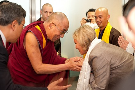 His Holiness the Dalai Lama welcomed by representatives of the organzing committee at the Frankfurt Airport on 29 July 2009/Photos: The Tibet Bureau, Geneva