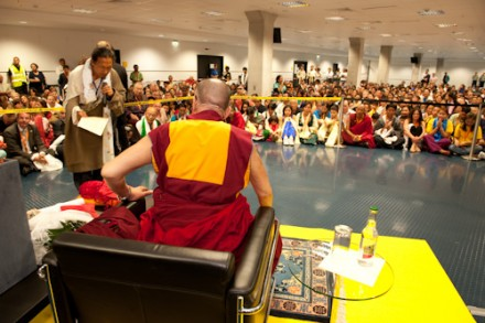 His Holiness the Dalai Lama addressing a gathering of around 450 Tibetans and 50 German volunteers of Tibet Support Groups in Frankfurt,Germany, on 1 August 2009