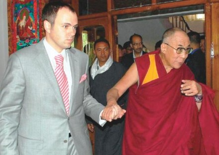 Jammu and Kashmir Chief Minister Omar Abdullah receives His Holiness the Dalai Lama at Bakula airport in Leh on Sunday, 9 August