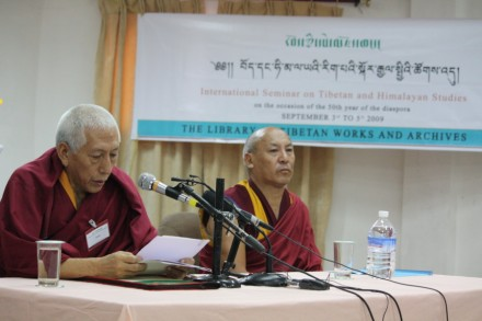 Kalon Tripa Prof Samdhong Rinpoche (L) speaks while Geshe Lhakdor (R) director, Library of Tibetan works and Archives, look on during the inaugural day of the international conference on Tibetan and Himalayan studies, in Dharamsala, India, on 3 September 2009