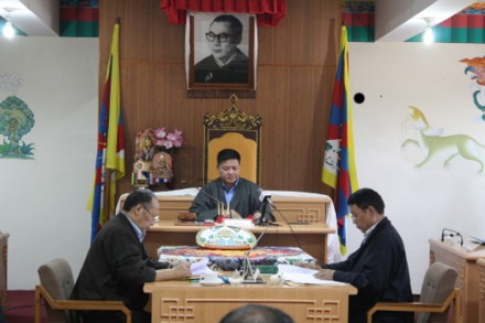 The Speaker, Penpa Tsering presiding over the first day of the 8th session of the Parliament. (Photo: Sangay Kep)