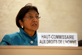 Navi Pillay addresses the 12th session of the Human Rights Council in Geneva/© UN photo/Gilles Sereni