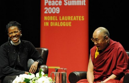 Reverend Mpho Tutu and His Holiness the Dalai Lama sit at the Chan Center at UBC Sunday morning at the beginning of the 2009 Vancouver Peace Summit/Photo Credit: Stuart Davis, Vancouver Sun
