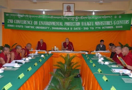 His Eminence the 17th Gyalwang Karmapa Ogyen Trinley Dorje (c) presiding over the second  conference on environmental protection at Gyuto Monastery in Dharamsala, India