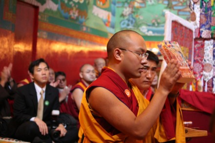 His Eminence the 17th Gyalwang Karmapa Ogyen Trinley Dorje launches a six-volume biography of His Holiness the Dalai Lama at the Norbulingka Institute in Dharamsala, India, on 26 October 2009/Photos by Sangey Kyap