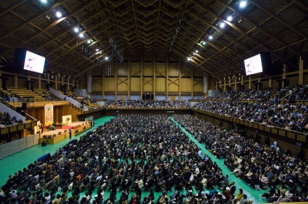 A capacity crowd of 5,300 attend the public talk of His Holiness the Dalai at the Ehime Budokan stadium in Japan on 3 November 2009. His Holiness the Dalai Lama is on his 12th visit to the  island nation.