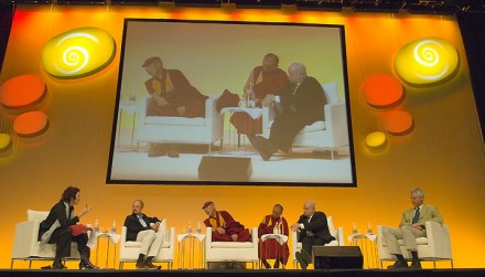 His Holiness the Dalai Lama (3rd from left) at the Mind and its Potential conference in Sydney, Australia,  on 3 Dec. 2009/Photographs courtesy of Rusty Stewart
