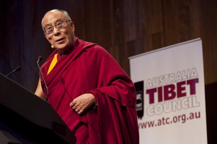 His Holiness the Dalai Lama addresses a large Australian and international audience on the 20th anniversary of his Nobel Peace Prize, in Melbourne on 10 December 2009/ photograph by Rusty Stewart