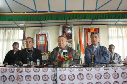 Special Envoy Kasur Lodi Gyari (c) and Envoy Kelsang Gyaltsen (R), addresses to the media in Dharamsala today on the latest round of discussions on Tibet with the representatives of the Chinese government. Secretary for Information Thubten Samphel (L) read out the statement by the special envoy of His Holiness the Dalai Lama.