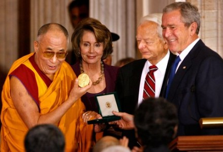 File photo of His Holiness the Dalai Lama receiving the US Congressional Gold Medal from President Bush, House Speaker Nancy Pelosi Sen. Robert Byrd, during a ceremony 17 October 2007 in the Capitol (Tim Sloan/AFP/Getty Images)