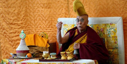 His Holiness the Dalai Lama leads an early morning prayer ceremony in Dharamsala, India, on 14 February 2010