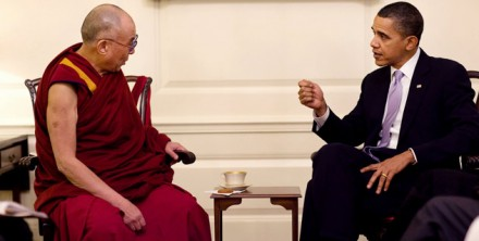 President Barack Obama meets with His Holiness the Dalai Lama in the Map Room of the White House on 18 February 2010. (Official White House Photo by Pete Souza)