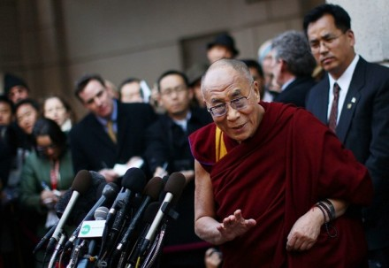 His Holiness the Dalai Lama  answers questions outside his hotel on 18 February 2010 in Washington, DC. Earlier in the day His Holiness met with US President Barack and US Secretary of State Hillary Clinton. Photo:GETTY IMAGES