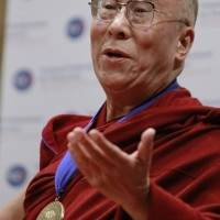 His Holiness speaks to the audience after receiving the National Endowment for Democracy's Democracy Service Medal during a ceremony at the Library of Congress in Washington