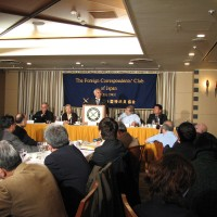 Around 25 reporters from foreign and local Japanese news agencies attended the press conference