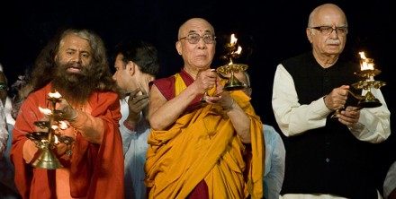 His Holiness the Dalai Lama (C) with Mr. L K Advani, (R) NDA working chairman. Photo/ dalailama.com