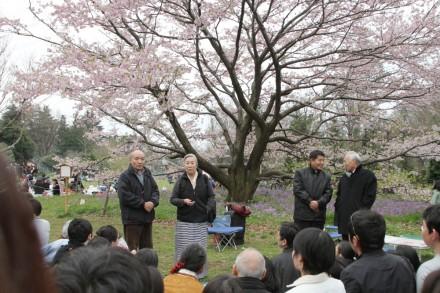 From right: Kalon Tempa Tsering, Representative Lhakpa Tshoko and Kasur Jetsun Pema participating in the Japanese Flower Festival in Tokyo