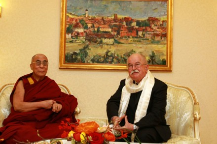 His Holiness the Dalai Lama with Slovenian Cabinet Minister Dr. Boštjan Žekš in Maribor,  Slovenia, on 7 April 2010