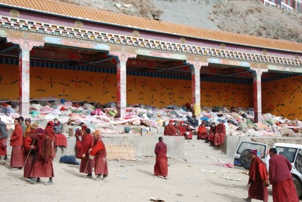 In this undated photo hundreds of dead bodies are seen piled up at a makeshift morgue near a monastery after a powerful earthquake killed around 1,339 people in the Tibetan dominated Kyigudo in north-eastern Tibet
