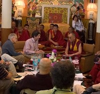 His Holiness and Richard Davidson during the Mind and Life XIV conference in Dharamsala, India, April 2007. Photo/Tenzin Choejor/OHHDL