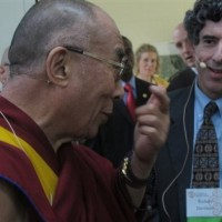 His Holiness he Dalai Lama with University of Wisconsin-Madison neuroscientist Richard Davidson on Sunday, 16 May 2010. His Holiness is visiting to mark the opening of the Center for Investigating Healthy Minds, which is directed by Davidson/AP Photo