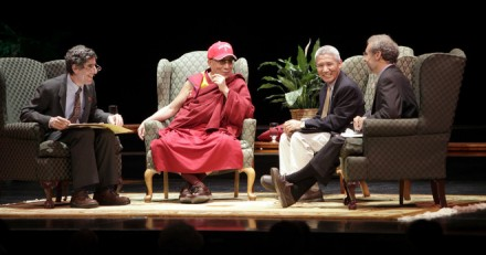 UW-Madison neuroscientist Richard Davidson (left), His Holiness the Dalai Lama, moderator Daniel Goleman and interpreter Geshe Thupten Jinpa discuss the role science can play in aiding the mind. The talk marked the public opening of the UW Center for Investigating Healthy Minds/Photo: Journal Sentinel
