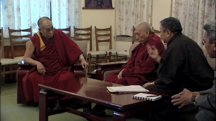 "A still from Joshua Dugdale's film ""The Unwinking Gaze' showing His Holiness the Dalai Lama (L) meeting with Kalon Tripa Prof Samdhong Rinpoche and two envoys in Dharamsala"