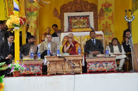 His Holiness the Dalai Lama (c), J&K Chief Minister Omar Abdullah (3rd L), cabinet members and MLAs during the 15th foundation anniversary of the Himalayan Buddhist Cultural School in Jammu and Kashmir on 5 June 2010/Photos by Jigme Tsering/TibetNet