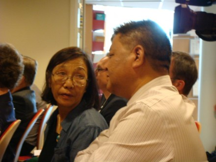 Speaker Penpa Tsering (right) with Mrs.Chungdak Koren at NUPI in Oslo. Photo by Oystein Alme of Voice of Tibet