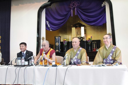 His Holiness (2nd L) at a press conference held at the Zenkoji Temple in Nagano, Japan, on 19 June 2010
