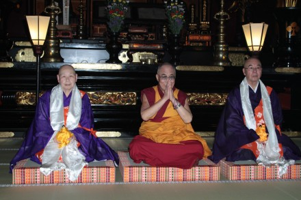 His Holiness the Dalai Lama (c) during a prayer ceremony at Zenkoji Temple in Nagano, Japan, on 19 June 2010/Photo by Tenzin Choejor/OHHDL