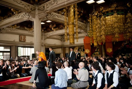His Holiness the Dalai Lama greets members of the audience at Sojiji Temple in Yokohama, Japan, on 27 June 2010