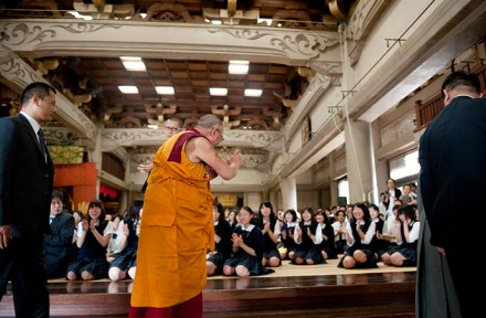 His Holiness the Dalai Lama meets young members of the audience at Sojiji Temple in Yokohama, Japan, on 27 June 2010