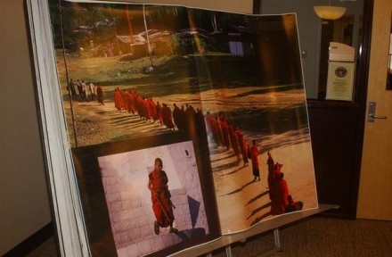 The Bhutan, the world's largest book, is displayed with a special exhibit at Miami University's Walter Havinghurst Special Collections on the third floor of King Library. Photo by Meagan Engl/The Oxford Press