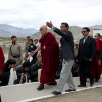 His Holiness the Dalai Lama visits the flood-ravaged Choglamsar area of Ladakh, on 13 September 2010