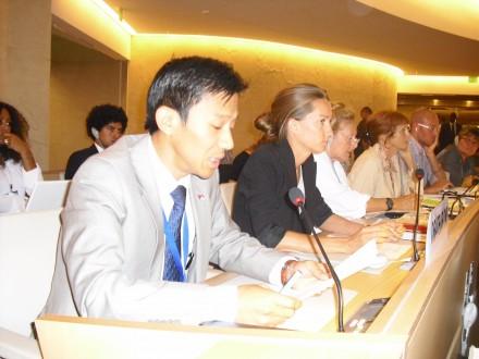 Mr Tenzin Samphel Kayta (1st L) speaks on behalf of Society for Threatened Peoples at the