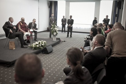 His Holiness the Dalai Lama and Mayor of Wroclaw at press conference