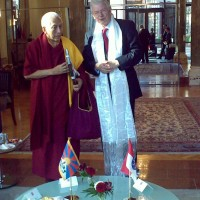 Kalon Tripa Samdhong Rinpoche (L) with Hesse State, Germany Minister