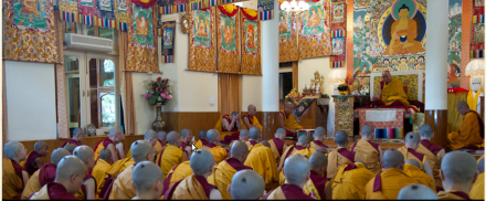 His Holiness the Dalai Lama giving ordination vows in Dharamsala, India, on 1 October 2010. Forty-six Taiwanese,