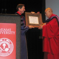 Miami University confers an honorary degree of Doctor of Law on His Holiness the Dalai Lama on