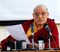 Kalon (Minister) for Department of Religion and Culture of the Central Tibetan Administration Ven. Tsering Phuntsok speaks during a press conference in Dharamsala, India, October 27, 2010. (Photo: Phyul/Norbu Wangyal)