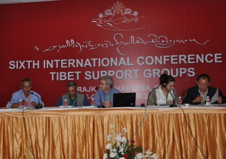 Members of the drafting committee during the Sixth International Conference of Tibet Support