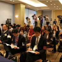 Members of the media listening to His Holiness the Dalai Lama in Hiroshima, Japan, on 15