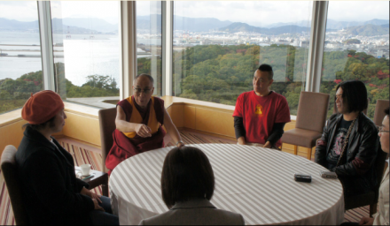 His Holiness the Dalai Lama meets with Japanese musicians in Hiroshima, Japan, on 15 November 2010.