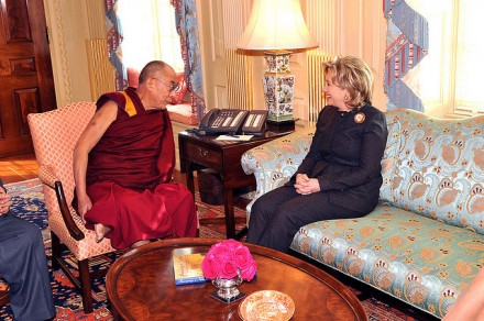 US Secretary of State Hillary Rodham Clinton meets with His Holiness the Dalai Lama, at the Department of State in Washington, DC, on 18 February 2010. [State Department photo / Public Domain]