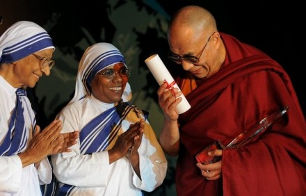 His Holiness the Dalai Lama greets nuns from the Missionaries of Charity in Kolkata  - the late Mother